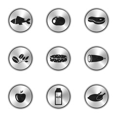 Vector image of food icons in the form of silver buttons