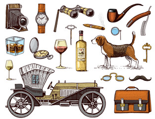 Gentleman accessories hand drawn set. Victorian era. binoculars and camera, briefcase, cufflinks, pouch, ring, sunglasses, fountain pen, wrist watch, retro car, cigars, shaving brush, dog beagle.
