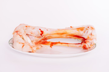 bone stands on a white saucer on a white background