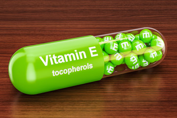 Vitamin E capsule on the wooden table. 3D rendering