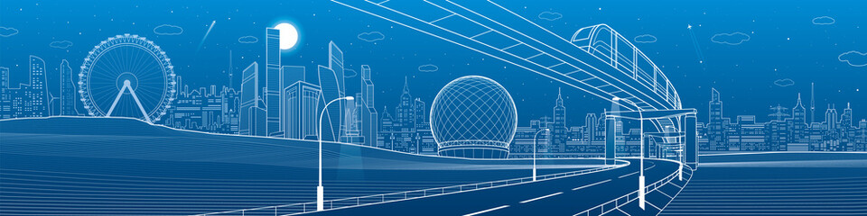 Transportation urban panorama. Monorail railway. Train on bridge. Illuminated highway. Skyline modern city at background. Business buildings. White lines on blue background. Vector design art