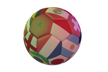 Isolated realistic football with flags of countries, in the center of Morocco, Poland and France 3d rendering.