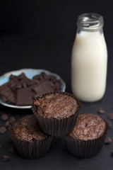 Whole Wheat Double Chocolate Chip Muffins in a Dark Environment