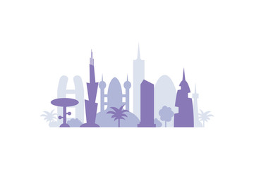 Set city buildings silhouettes. cityscape in future. Modern town elements vector illustration