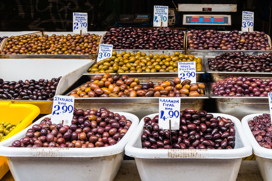 Close up of mixed Greek olives in the market in Athens Greece