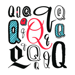 Letters Q Set. Different styles. Hand-drawn illustration