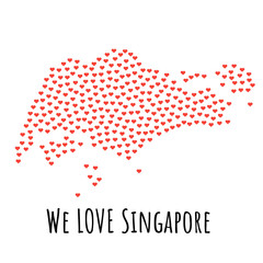 Singapore Map with red hearts- symbol of love. abstract background with text We Love Singapore. vector illustration. Print for t-shirt