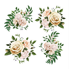 Vector realistic watercolor rose bouquet leaf set