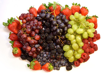 Collage Group of Berries and Red and Green Grapes, Blueberries, Blackberries, Strawberries, Raspberries, Organic Healthy Fruit