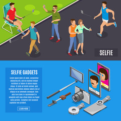 Social Photo Selfie Isometric Banners