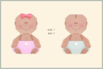 Baby girl or boy in nappy origami