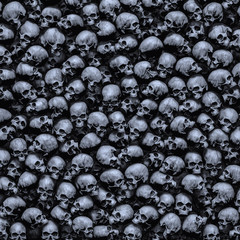 Gothic skulls background / 3D illustration of dark grungy human skulls piled closely together