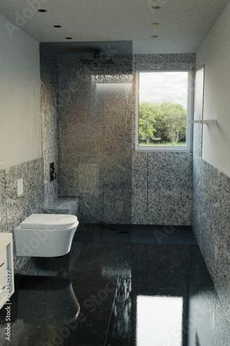 Modernes Naturstein Badezimmer mit Sitzbank und Glaswand. 3d ...