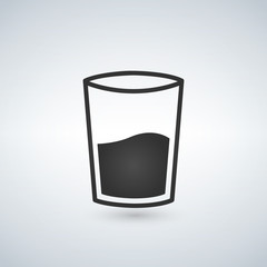 glass of water icon, vector illustration isolated on white.