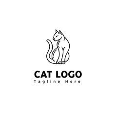 line art sitting cat logo