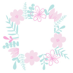 Romantic vector frame with flower and leaves. For wedding invitation card, print