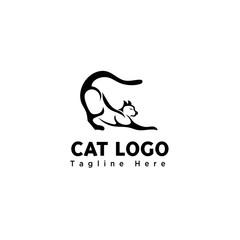 funny play cat brush art logo