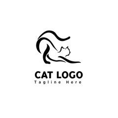 simple funny play cat brush art logo