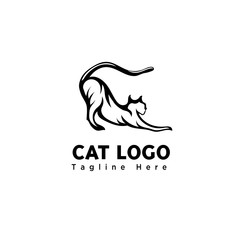 funny play cat brush art logo
