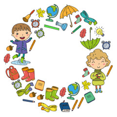 Autumn. Back to school. Education. Little children. Boys and girls. Kindergarten and school. Kids going to have fun and study. Play and grow together with books and teachers. Imagination.