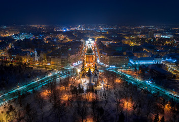 Winter night aerial view from Timisoara taken by a professional drone - Timișoara Orthodox Cathedral in middle