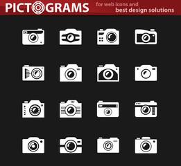 photo camera white icon set