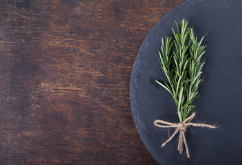 Rosemary on a wooden board