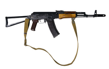 Assault rifle with folding butt and canvas belt, isolated