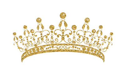 Glittering Diadem. Golden tiara isolated on white background.