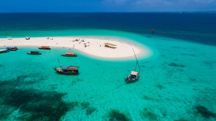 Sand bank near Stone Town. Zanzibar, Tanzania.