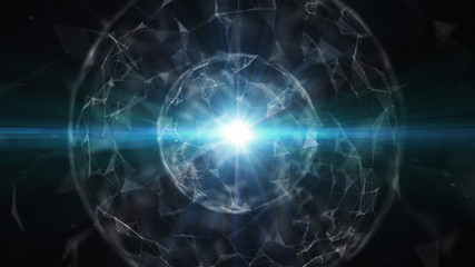 3D abstract technology with intersections and particles. Network of lines with sphere shape. Lens flare effect.