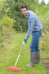 raking the grass