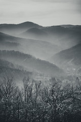Landscape of mountains in the mist