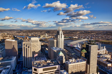 Aerial view of the downtown Cincinnati skyline along the Ohio riverfront