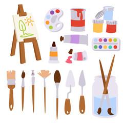 Painting art tools palette vector illustration details stationery creative paint equipment creativity artist instrument.