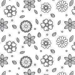 Rustic wallpaper with flowers and leaves over white background
