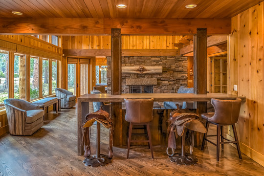Country bar in living area