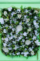 Colorful flower arrangement of white eustoma, hydrangeas and other flowers