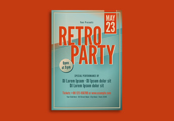Retro Party Flyer Layout with Blue and Orange Accents