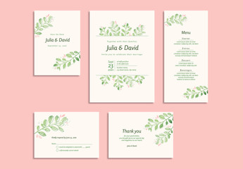 Wedding Invitation Set with Pink and Green Floral Elements