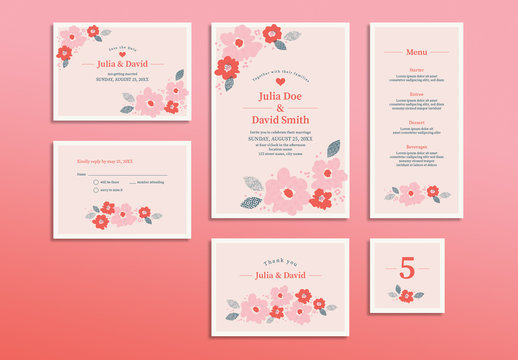 Wedding Invitation Set with Pink and Red Floral Elements