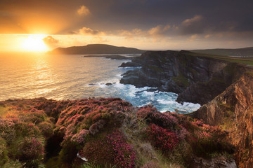 Ireland, Portmagee cliffs at sunset along the Ring of Kerry