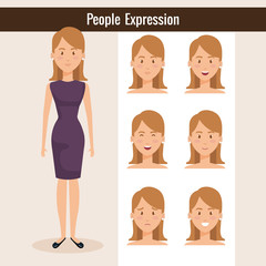 beautiful lady with set expression vector illustration design