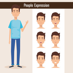 young man with set expression vector illustration design