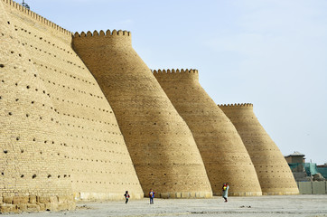 City walls. Ark fortress, Bukhara, a UNESCO World Heritage Site. Uzbekistan