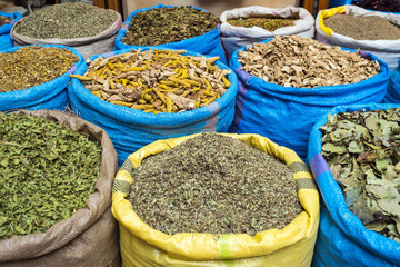 Morocco, Marrakech-Safi (Marrakesh-Tensift-El Haouz) region, Marrakesh. Dried herbs and spices for sale in the Mellah spice market.