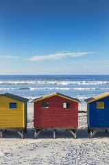 Beach huts on Muizenburg beach, Cape Town, Western Cape, South Africa
