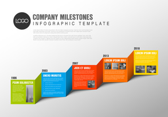 3D Zigzag Timeline Infographic Layout