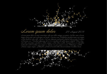 Silver and Gold Leaves Digital Condolence Card Layout