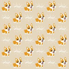 Cute cartoon character design Pembroke Welsh Corgi pattern